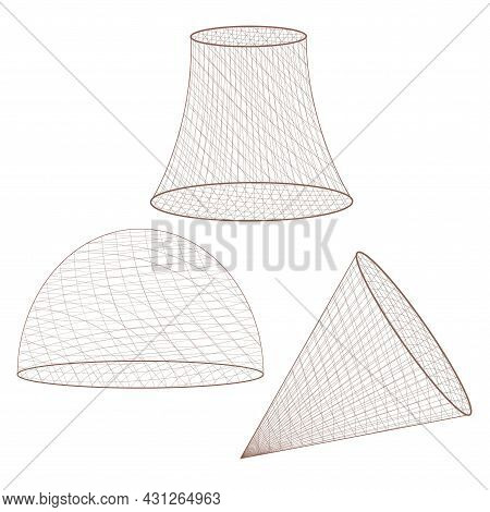 Set Of Fishing Nets Isolated On White Background. Vector Linear Geometric Shapes (hemisphere, Cone)