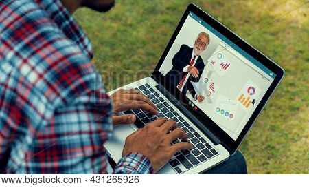 E-learning And Online Business Presentation Meeting Concept. Digital Training Course For People To D