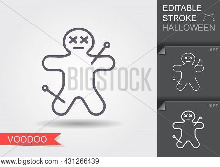 Voodoo Doll. Outline Icon With Editable Stroke. Linear Halloween Symbol With Shadow
