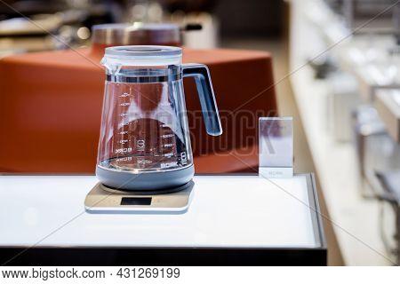 Minsk, Belarus, August 2021 - Bork Kitchen Pro Appliances Presented In Firm Store. Official Boutique