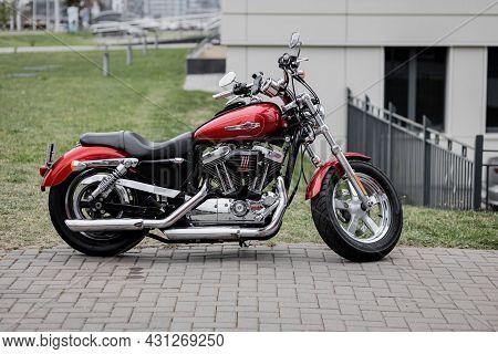 Minsk, Belarus, August 2021 - Harley Davidson Motorcycle In Parking. Custom Motorbike