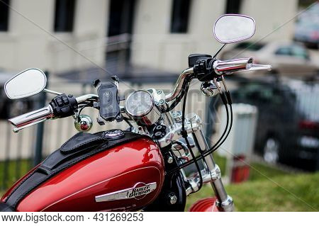 Minsk, Belarus, August 2021 - Harley Davidson Motorcycle With Custom Color And Also Chrome Engine