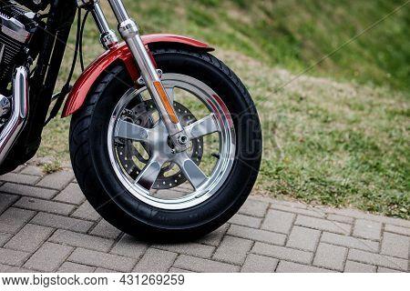 Minsk, Belarus, August 2021 - Wheel Of Harley Davidson Bike