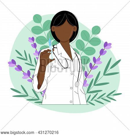 Doctor With A Syringe. Female Doctor Of African American Nationality. Homeopathy. Vector Illustratio