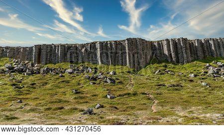 Gerduberg Basalt Columns On The Snaefellsnes Peninsula In Iceland. Basalt Columns Are Standing Like