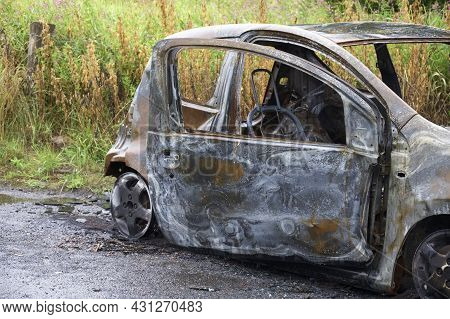 Burnt Out Car Set Of Fire And Left By Joy Rider