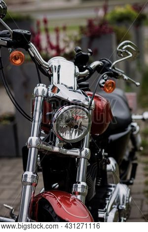 Motorcycle On The On Streets. Close Up Of Headlight On Vintage Chopper