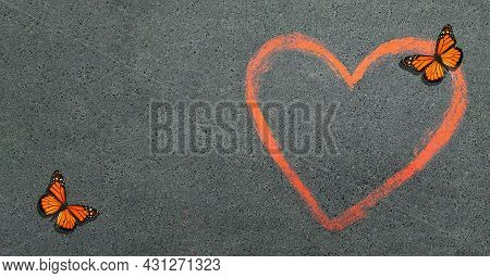 Asphalt Texture Background. Red Heart Is A Symbol Of Love And Bright Monarch Butterflies Drawn On Th
