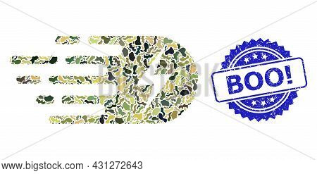 Military Camouflage Combination Of Electricity, And Boo Exclamation Rubber Rosette Stamp Seal. Blue