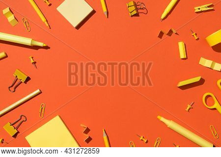 Top View Photo Of Yellow Stationery School Supplies Scissors Pencils Markers Binder Clips Pushpins A