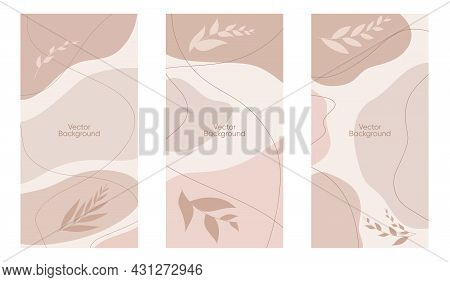 Abstract Leaves Vector Modern Stories Background Set. Geometric Floral Illustration Background. Hand
