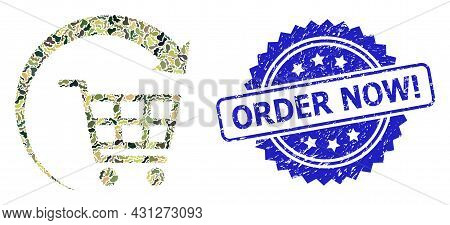 Military Camouflage Composition Of Repeat Shopping Cart, And Order Now Exclamation Unclean Rosette S