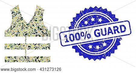Military Camouflage Combination Of Safety Vest, And 100 Percent Guard Grunge Rosette Stamp Seal. Blu