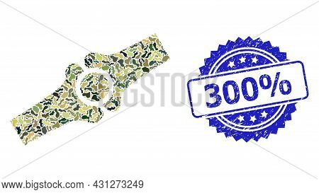 Military Camouflage Composition Of Artificial Bone Joint, And 300 Percent Dirty Rosette Seal. Blue S