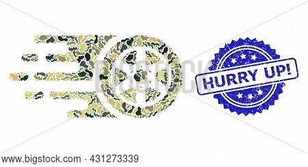Military Camouflage Combination Of Bolide Car Wheel, And Hurry Up Exclamation Textured Rosette Seal.