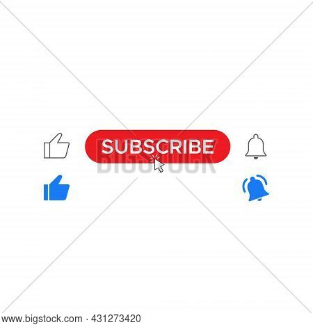 Like, Subscribe, and Ringing Bell. Button Icon Set of Video Streaming App. Vector Illustration