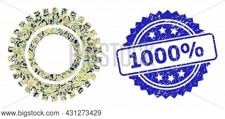 Military Camouflage Composition Of Clock Gear, And 1000 Percent Unclean Rosette Seal Print. Blue Sta