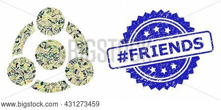 Military Camouflage Combination Of Collaboration, And Hashtag Friends Grunge Rosette Stamp. Blue Sta