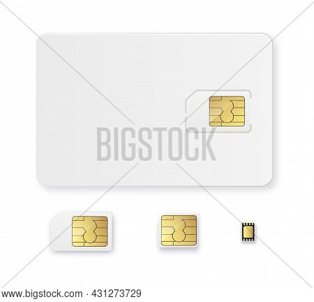 Sim Card Object Realistic Icon Vector. Simcard Isolated 3d Design Gsm.