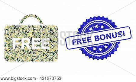 Military Camouflage Collage Of Free Case, And Free Bonus Exclamation Textured Rosette Stamp. Blue St