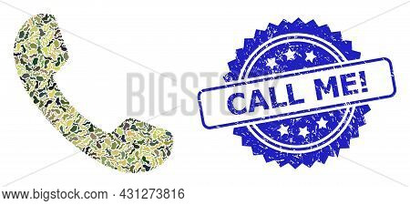 Military Camouflage Composition Of Phone, And Call Me Exclamation Unclean Rosette Seal Imitation. Bl