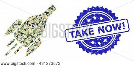 Military Camouflage Collage Of Rocket Wine Bottle, And Take Now Exclamation Textured Rosette Stamp S