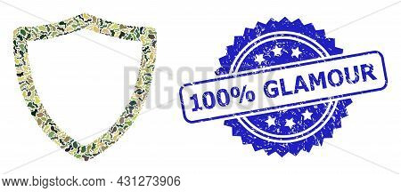 Military Camouflage Composition Of Shiled, And 100 Percent Glamour Corroded Rosette Seal. Blue Seal
