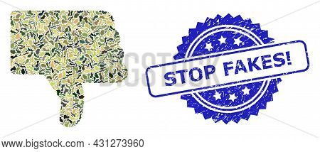 Military Camouflage Composition Of Thumb Down, And Stop Fakes Exclamation Grunge Rosette Seal. Blue