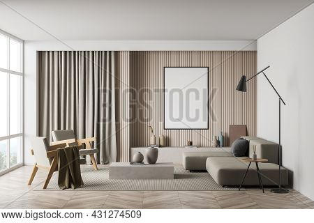 Mockup Poster In The Interior Of The Living Room, Having Beige Furnishing And A Panoramic View. Mini
