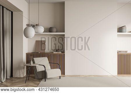 Beige Living Room Interior, Having Symmetric Niches With Wood Basement Ledges, Open Shelves, Curtain