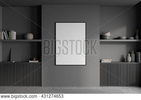 Empty White Poster In The Centre Of Dark Grey Wall In Living Room Interior Design With The Wooden Ba