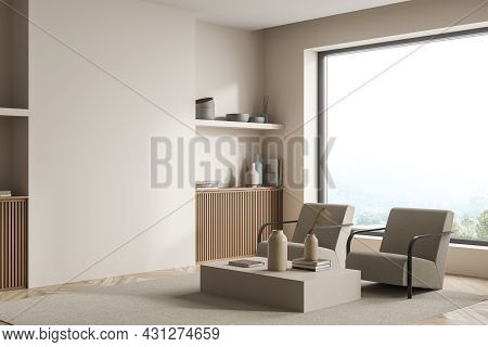 Beige Panoramic Living Room Interior With A Wooden Detail Of A Basement Ledge, A Shelf And A Coffee