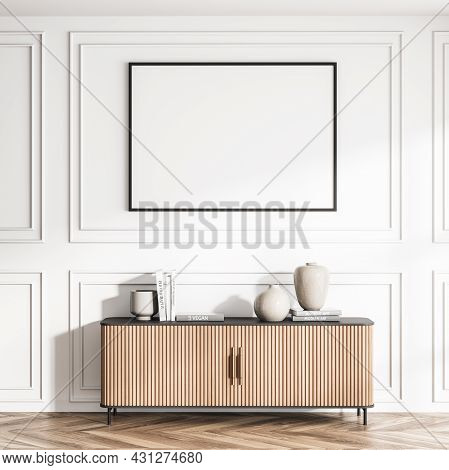 Horizontal Blank Poster And Wall Moulding In The White Area With Parquet And Sideboard With Wood Pan