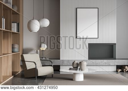 View Of Beige Armchair With Coffee Table In The White And Grey Living Room With Poster, Wood Bookcas