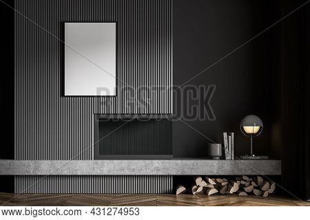 Dark Grey Interior With Modern Low Shelf, Poster, Contemporary Fireplace, Trendy Wall Panelling And