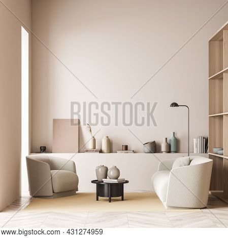 Light Pink And Beige Living Room Area With Sofa, Neat Minimalist Design, Empty Wall With Basement Le