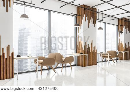 Corner Of White Cafe Interior With Decorative Wall Panels Between Panoramic Areas With Tables And Be