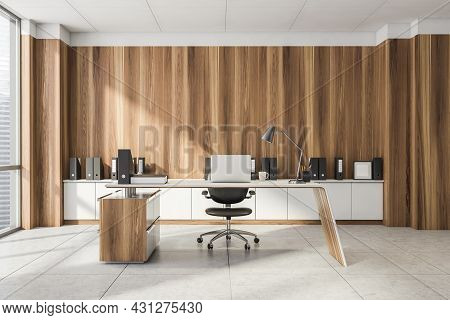 Office Room Interior With Panoramic Window With City Skyscraper View, Laptop, Armchair, Wooden Wall,