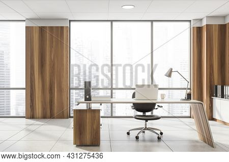 Front View On Office Interior With Panoramic Window With City Skyscraper, Laptop, Armchair, Wooden W