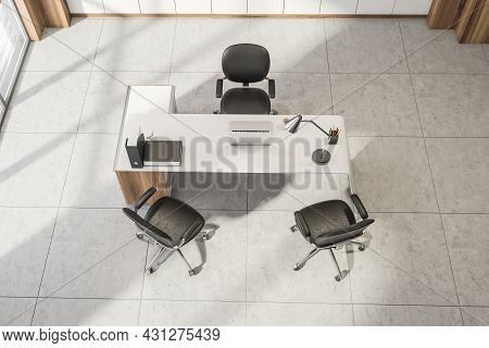 Top View On Office Room Interior With Panoramic Window, Laptop, Three Comfortable Armchairs, Laptop,