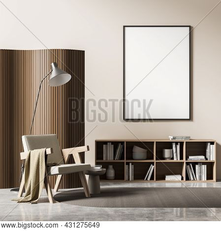 Living Room Interior With White Empty Poster, Comfortable Armchair, Coffee Table, Grey Carpet, Books