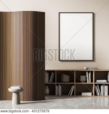 Living Room Interior With White Empty Poster, Coffee Table, Bookshelf, Wooden Partition And Concrete