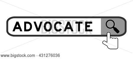 Search Banner In Word Advocate With Hand Over Magnifier Icon On White Background