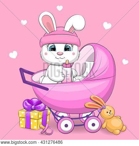 Cute Cartoon White Rabbit In A Pram Stroller With A Toy, Gift, Milk Bottle, Babies Dummy. Vector Ill