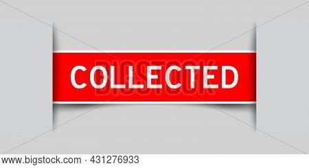 Label Sticker Red Color In Word Collected That Inserted In Gray Background