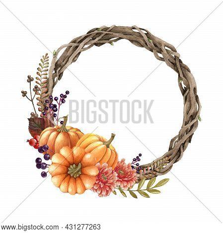 Floral Autumn Pumpkin Wreath. Watercolor Illustration. Hand Drawn Rustic Festive Round Decor From Pu