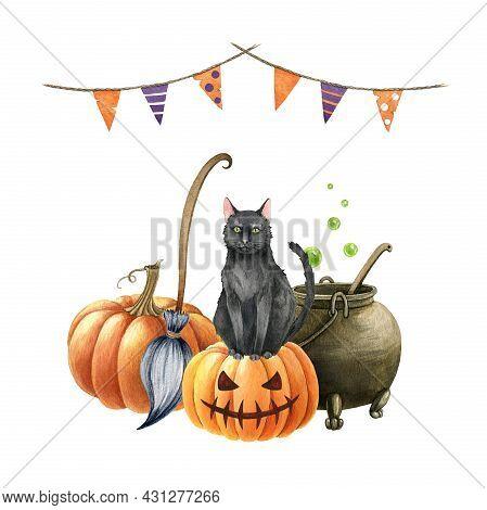 Black Cat On Pumpkin. Watercolor Halloween Illustration. Black Cat On Scary Jack Pumpkin Head, Broom