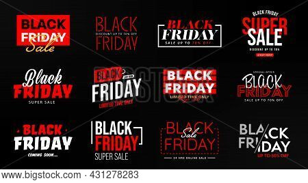 Black Friday Limited In Time Super Sale Banner Template. Set Of Discount Offer With Price Reduction