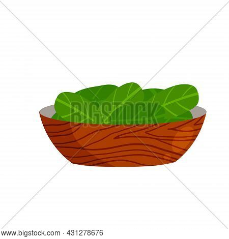 Spinach In A Plate. Green Leaves And Salad In A Bowl. Healthy Food And Diet. Flat Cartoon Illustrati