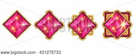 Game Gem Vector Crystal Kit, Diamond Cartoon Ui Icon Set, Jewel Stone Treasure Achievement Illustrat
